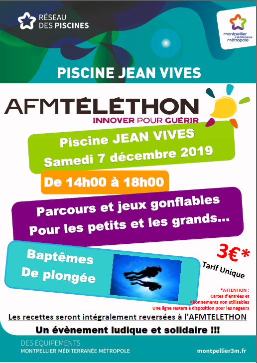 Téléthon 2019, samedi 07 décembre piscine Vivès (Montpellier)